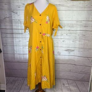 A.n.a mustard yellow floral button front dress xxl